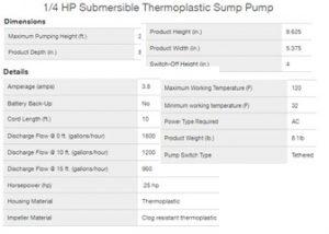 Superior Pump 92250 Spec Sheet From superiorpump.com Found at SumpPumps.PumpsSelection.com
