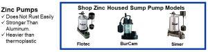 Zinc Housed Primary Sump Pump Models include Flotec, BurCam and Simer at SumpPumps.PumpsSelection.com.